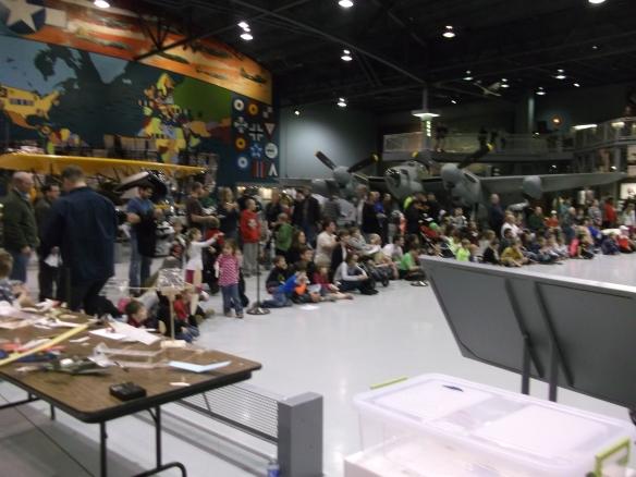 Spectators lined up during Flightfest flying demo